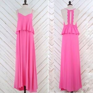 Altar'd State Ruffle Saudade Maxi Dress Hot Pink